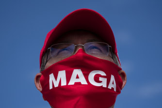 A supporter of President Donald Trump  at a North Carolina rally on October 15.