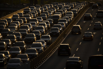 Traffic backs up along a highway in Beijing last week.