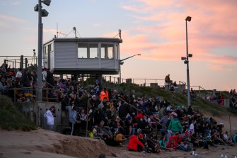 Spectators at the penguin parade at Phillip Island on Tuesday evening.