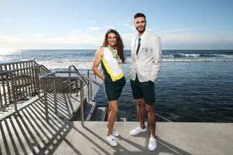 Jessica Fox and Safwan Khalil during the launch at Wylie's Bath in Sydney.