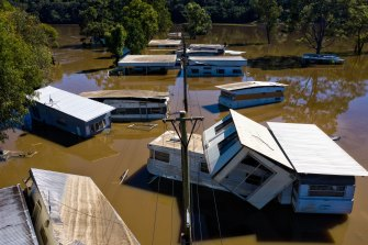 Dargle Water Ski Resort is inundated after the Hawkesbury River flooded through on Sunday.