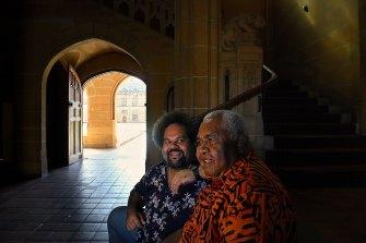 Australia's first Pacifika professor, Professor Jioji Ravulo (left) with his father Jovesa Ravulo at the University of Sydney quadrangle.