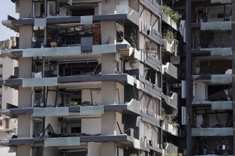 One of hundreds of shattered apartment buildings in Beirut.