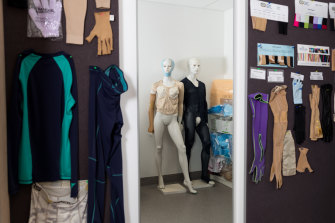 Examples of compression garments on display at the burns unit. These are made to fit each patient.