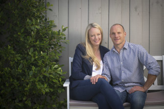 """Leigh and Andrew Russell: """"I've always joked that there are three people in our marriage: me, Andrew and whatever athlete is his project that season."""""""
