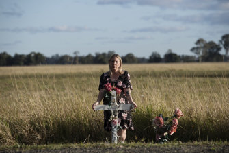 Michelle Underhill at the roadside memorial where her daughter, Elle, 4, was killed in a head-on crash near Casino in December 2015.