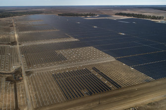 A solar farm under construction outside the township of Nevertire in western NSW.