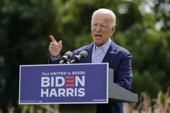 Former vice-president Joe Biden speaking about climate change in Delaware in September.