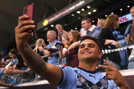 Something to smile about ... Latrell Mitchell will be watched by 80,000 at Stadium Australia for Origin III.