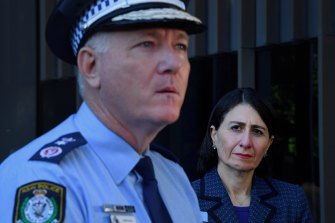 NSW Premier Gladys Berejiklian, right, defended Commissioner Fuller's pay rise on Tuesday.