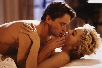 Michael Douglas and Sharon Stone in Basic Instinct.