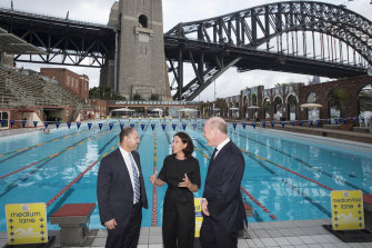 Treasurer Josh Frydenberg visited the pool with the mayor of North Sydney, Jilly Gibson, and North Sydney MP Trent Zimmerman during an election campaign stop last April.