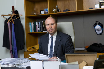 Treasurer Josh Frydenberg in his office at Parliament House.