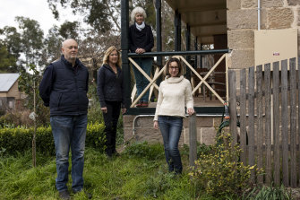 Digging in: members of the Wollombi Valley Progress Association say they will fight against mining near their town. From left: Euan Wilcox, Simone Smith (president), Chris Davey and Daniela Riccio.