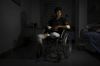 Ayham Yousef, 16, pictured in a Qamishli hospital, lost his leg following a Turkish airstrike.