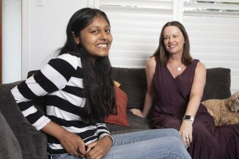 Kiara Simoes, who finished second in English standard, with her Killarney High teacher Wendy Lisle.