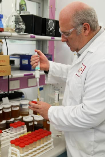Chem Centre food scientist Ken Dods conducting tests on WA honey.