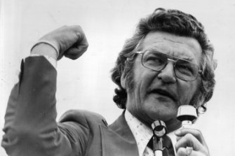 President of the A.C.T.U. Mr Bob Hawke addresses rally outside Parliament House, 1975.