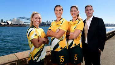 Matildas players (L-R) Gemma Simon, Emily Gielnick, Laura Alleyway and Matilda's head coach Ante Milicic ahead of the World Cup.