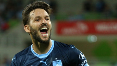 Milos Ninkovic celebrates a goal against Melbourne City.