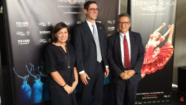 Arts Minister Leeanne Enoch, Italian Consulate spokesman Ludovico Carlo Camussi and QPAC chief executive John Kotzas (left to right) announcing five years of negotiations have paid off.