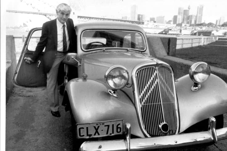 North Sydney Mayor Ted Mack with his own driven mayoral car Citroen Light 15.
