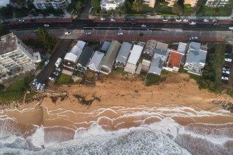 Coastal erosion at Collaroy-Narrabeen, as seen on Friday.
