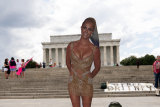 """A pop star Britney Spears cardboard cutout is placed at at the Lincoln Memorial, during the """"Free Britney"""" rally, Wednesday, July 14, 2021, in Washington."""