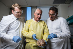 Concussion Legacy Foundation founder Chris Nowinski (left) at the opening of the Australian Sports Brain Bank in 2018.