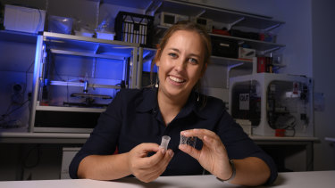 QUT PhD researcher Naomi Paxton is working on 3D printing a bioplastic scaffold that allows a patient's bone to regrow itself.