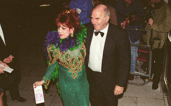 Clive James arrives for the 1995 Comedy Awards with Margarita Pracatan, the Cuban novelty singer who found success in the 1990s when Clive James had her perform live on his TV show.