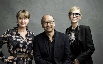 """""""We have been living with massive uncertainty"""": Cate Blanchett (right) with fellow co-creators of Stateless Elise McCredie and Tony Ayres."""
