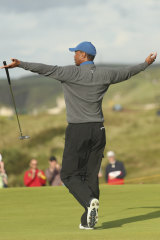 Health in decline: Woods celebrates a birdie at the British Open in July.