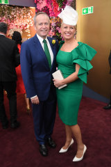Opposition Leader Bill Shorten and his wife Chloe in the TAB marquee.
