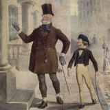 Mr Micawber and a young David Copperfield in an illustration from Dickens' novel, circa 1850.