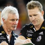 Nathan Buckley as assistant coach to Mick Malthouse in 2011.