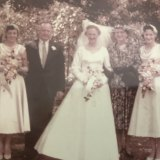 Grace Aiken and family at her wedding on their family farm.