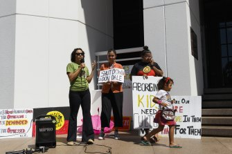 A protest was held outside the Northern Territory's Parliament House on Monday.