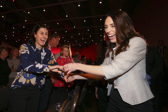 Prime Minister Jacinda Ardern greets a supporter after making a speech at Labour Party Congress 2020 in Wellington.