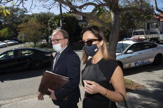 Kristin Fisher arrives at Waverley Local Court last week with her lawyer Michael Bowe.
