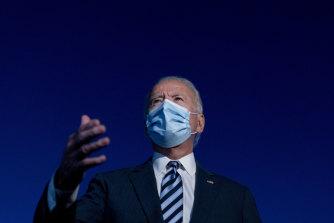 Democratic presidential candidate Joe Biden speaks to members of the media before boarding his campaign plane after visiting Gettysburg.