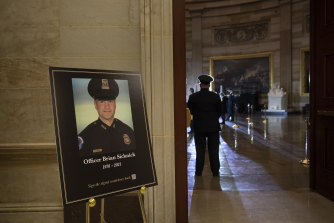 US Capitol Police officer Brian Sicknick lay in honour in the Rotunda of the US Capitol last month.