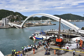Nanfango bridge is a tourist attraction in eastern Taiwan.
