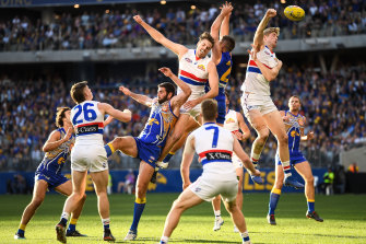 The Bulldogs' Tim English spoils in the marking pack during a clash last year between the Bulldogs and Eagles.