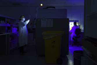 Dimitra Iliakis operates the machine processing coronavirus samples at the Prince of Wales Hospital.