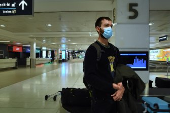 Federico Illari arrived at Sydney Airport from Melbourne on Monday.