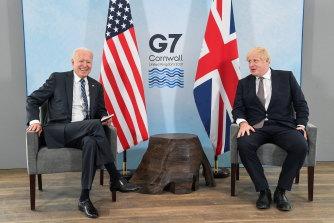 Britain's Prime Minister Boris Johnson speaks with US President Joe Biden during their meeting, ahead of the G7 summit.