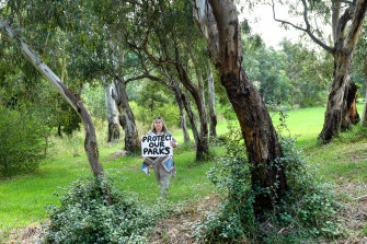 Michelle Giovas, president of Friends of Banyule, in Borlase Reserve in Yallambie, which will be severely affected by the North East Link.