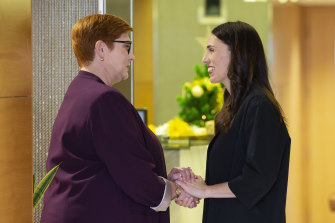 New Zealand Prime Minister Jacinda Ardern greets Foreign Minister Marise Payne at the New Zealand parliament in Wellington on Monday December 16, 2019.