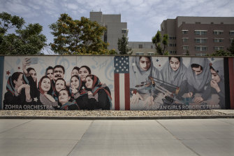 Murals are seen along the walls at a quiet US embassy in Kabul, Afghanistan.